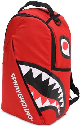 Sprayground Angle Shark Printed Canvas Backpack