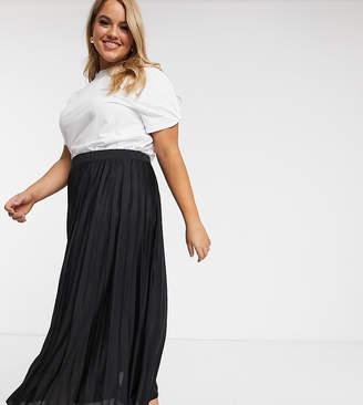 Asos DESIGN Curve pleated midi skirt-Black