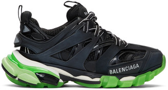 Balenciaga Black and Green Glow Track Sneakers