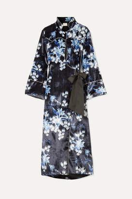 Johanna Ortiz New Sunrise Floral-print Velvet Kimono - Navy