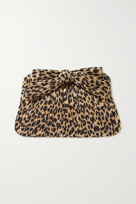 Loeffler Randall Rayne Bow-detailed Leopard-print Plisse-crepe Clutch - Leopard print