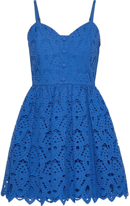 Alice + Olivia Nella Flared Broderie Anglaise Cotton Mini Dress