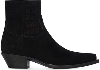 Saint Laurent Lukas Western Zipped Embossed Boots