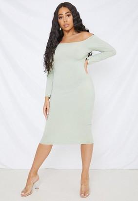 Missguided Size Khaki Rib Bardot Dress