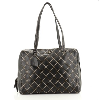 Chanel Surpique Boston Bag Quilted Leather XL