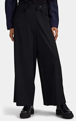 Yohji Yamamoto Regulation Women's Wool Twill Wide-Leg Pants - Black