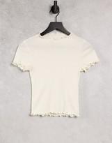 Thumbnail for your product : Monki Nova organic cotton natural dye lettuce hem t-shirt in off white
