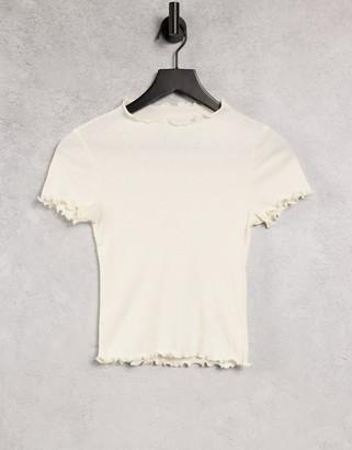 Monki Nova organic cotton natural dye lettuce hem t-shirt in off white
