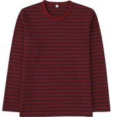 Uniqlo Men Washed Striped Crewneck Long Sleeve T-Shirt
