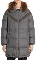 Brunello Cucinelli Reversible Fox Fur & Flannel Puffer Coat