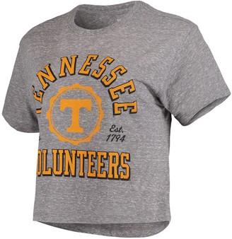Women's Pressbox Gray Tennessee Volunteers Bishop Tri-Blend Knobi Crop T-Shirt