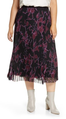 Halogen Pleated Chiffon Midi Skirt