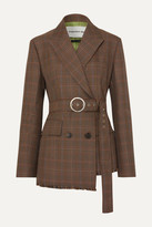 Andersson Bell - Oversized Belted Checked Wool-blend Tweed Blazer - Brown