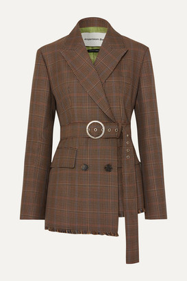 ANDERSSON BELL Oversized Belted Checked Wool-blend Tweed Blazer - Brown