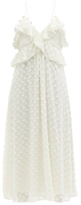 Zimmermann Ruffled Chiffon Midi Dress - Ivory