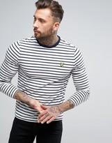 Lyle & Scott Long Sleeve Top Breton Stripe Regular Fit Eagle Logo in White
