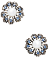 2.16 Total Ct. Diamond, Sapphire & Button Pearl Floral Earrings