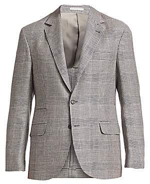 Brunello Cucinelli Men's Glen Plaid Linen, Wool & Silk Jacket