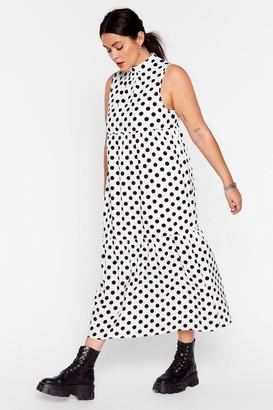 Nasty Gal Womens What's Dot into You Plus Polka Dot Midi Dress - White