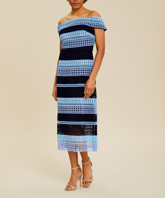 Ted Baker Women's Casual Dresses BRT-BLUE - Bright Blue Geometric Candaca Off-Shoulder Midi Dress - Women