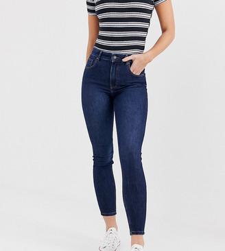 Bershka super high waisted skinny jean in navy blue