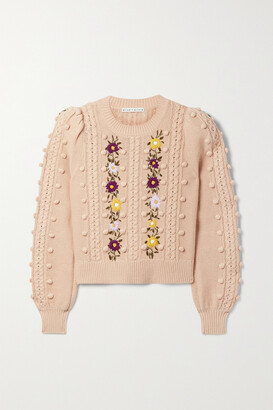 Alice + Olivia - Enid Pompom-embellished Embroidered Wool And Cotton-blend Sweater - Pink