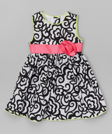 Nannette Black & Fuchsia Floral Babydoll Dress - Infant & Toddler