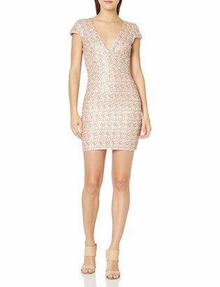 Dress the Population Women's Zoe Cap Sleeve Plunging Sequin Mini Dress