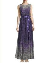 Rickie Freeman For Teri Jon Sleeveless Paneled Floral Gown, Purple/Multicolor