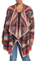 Lucky Brand Geo Pattern Drape Front Cardigan (Plus Size)