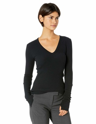 Enza Costa Women's Cashmere Thermal Cuffed V-Neck Top