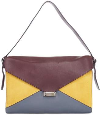 Celine Diamond Clutch Yellow Leather Handbags