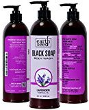 Antifungal Body Wash Enriched with 2 Essential Oils - Lavender & Tea Tree - Handmade with African Black Soap, by Earth Seed - Face Wash & Shampoo Eliminates Eczema, Acne- 16.9 Fl Oz