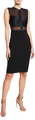 Halston Sleeveless High-Neck Dress with Strip Detail