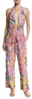 Etro Floral Paisley Silk Coverup Pants, Red Multi