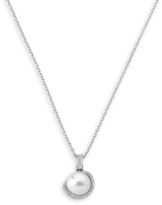 Majorica Sterling Silver and 12MM White Pearl Pendant Necklace