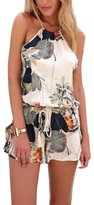 Vogholic Women's Sexy Bohemian Floral Print Halter Backless Rompers Jumpsuit L