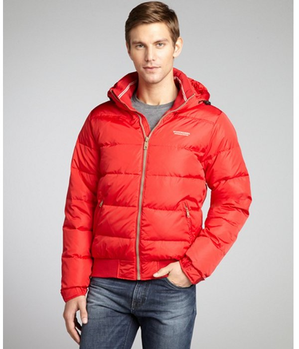 Scotch & Soda red poppy quilted woven down-fill hooded coat