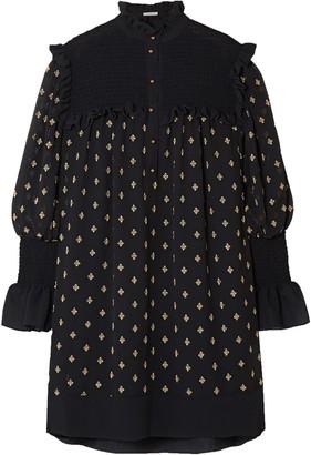 Philosophy di Lorenzo Serafini Shirred Embroidered Gauze Mini Dress