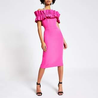 River Island Womens Pink ruffle bardot midi bodycon dress