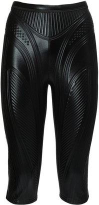 Thierry Mugler Embossed Shiny Jersey Biker Pants