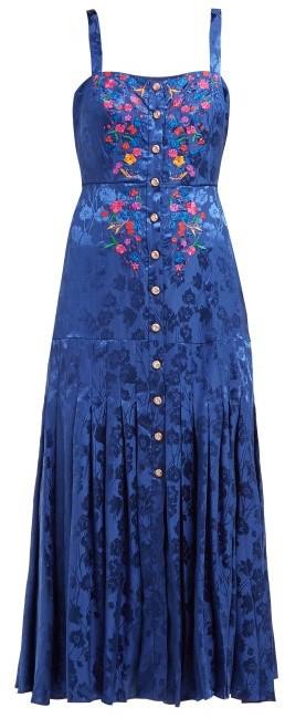 Saloni Karen Floral-jacquard Silk Midi Dress - Womens - Blue Multi