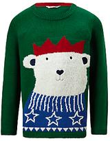 John Lewis Boys' Knitted Bear Jumper, Green