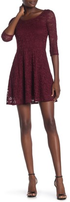 Material Girl 3/4 Sleeve Lace Dress