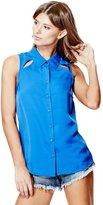 GUESS Women's Sera Cutout Chiffon Shirt