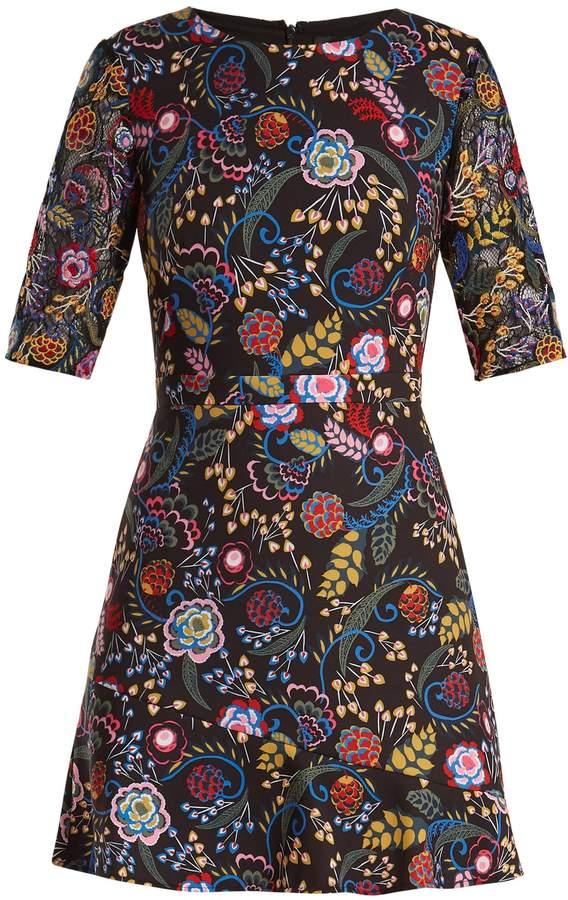 Saloni Celia floral-print cady dress