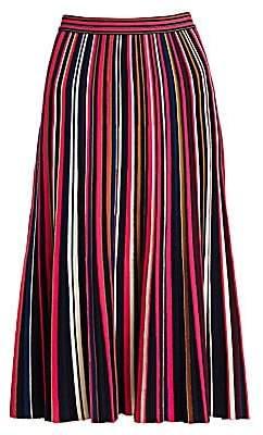 St. John Women's Multicolor Stripe Plisse Knit Skirt