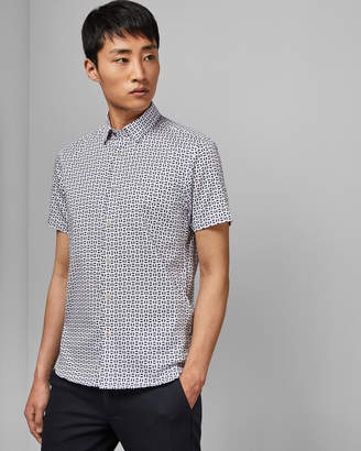 Ted Baker STEEVE Geo print cotton shirt