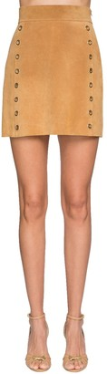 Alberta Ferretti Suede Mini Skirt W/ Gold Ring Details