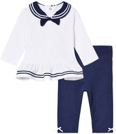 Mayoral White and Navy Sailor Top and Leggings